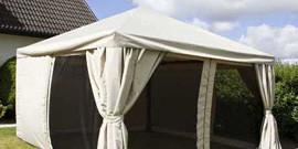 Беседка-шатер с тентом для дачи как мобильная защита от солнца и непогоды