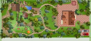 На фото - схема ландшафтного дизайна загородного дома, edenland.ru