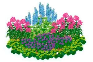 На фото - схема цветника, landscape-project.ru