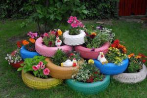Садовая клумба своими руками из покрышек – эффектный элемент дизайна