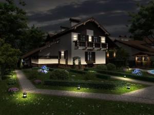 Фото наружного освещения частного дома, ates.spb.ru