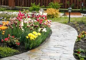 На фото - садовая дорожка из камня, remontpozitif.ru