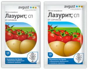 На фото - лазурит для борьбы с сорняками картофеля, sad-ogorod.ru