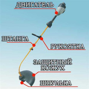 Фото устройства бензинового триммера, 1landscapedesign.ru