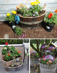 Фото вазонов для цветов из старых бочек и ящиков, sait-pro-dachu.ru