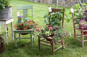 На фото - цветочная клумба из старого стула, original-garden.ru