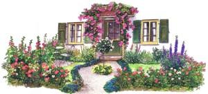 Фото примера оформления палисадника, landscape-project.ru