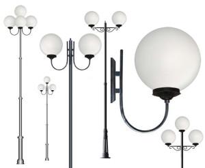 На фото - виды уличных фонарей, gigalight.all.biz