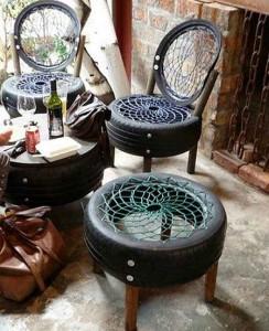На фото - садовая мебель из старых шин своими руками, dom32.info