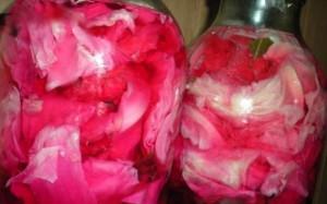 На фото - капуста кусочками со свеклой в маринаде по-корейски, povar.ru