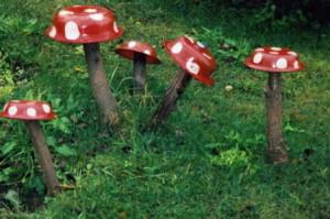 На фото - грибы из старых тазов, flylady.su