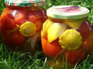 На фото - маринованные патиссоны с помидорами на зиму, forum.say7.info