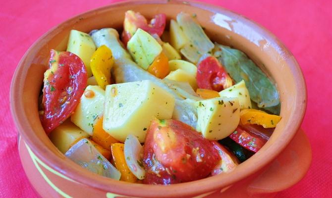 Овощное рагу с патиссонами и салат в желе