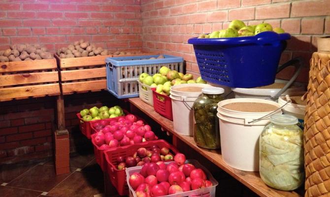 Убранные в погреб на зиму овощи и фрукты