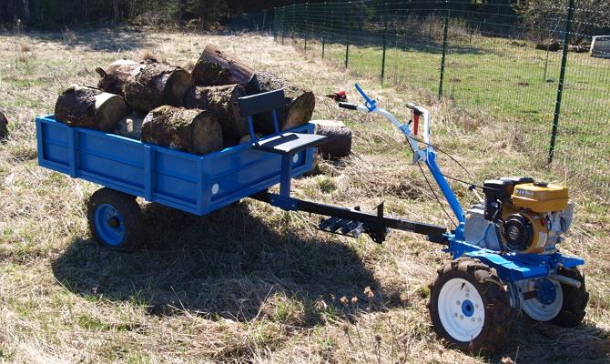 Прицеп к мотоблоку для транспортировки тяжелых грузов